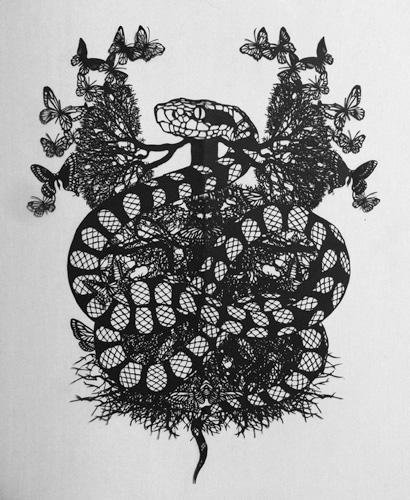 Aya MORITA - よこしま, 2015年, 切り絵, 65.0×57.0cm (額寸)