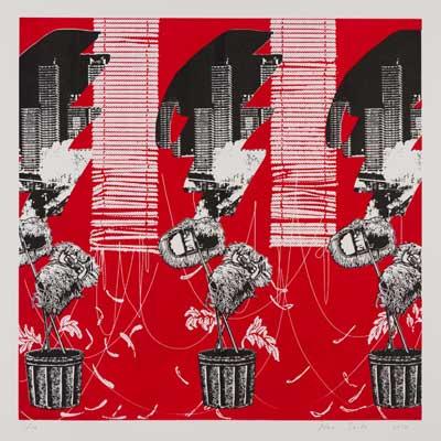齋藤芽生, 夜光族2, 2012年, 47.5×47.5cm, シルクスクリーン、紙