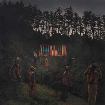 齋藤芽生, 野火賊〜奈落会(ならくえ), 2012年, 45×45cm, アクリル、紙