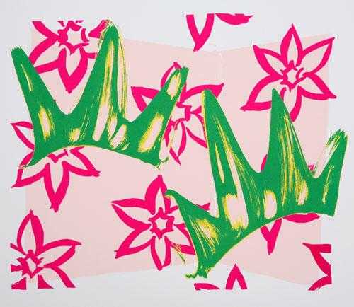Mika YOSHIZAWA - わ-89(庭石菖) , 2007 , シルクスクリーン , 351×402mm , ed.70