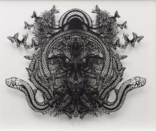 Aya MORITA - 誘惑, 2014, 67.0×80.0cm 切り絵、額