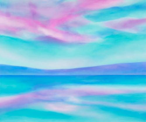 富岡直子  東雲の空に  2015  アクリル、麻キャンバス、パネル  162×194 cm  (C) Naoko Tomioka, Photo (C) Hideto NAGATSUKA