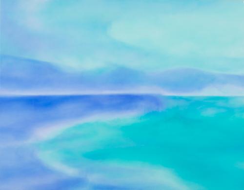 富岡直子  あおのあいだで  2015  アクリル、麻キャンバス、パネル  91×117 cm  (C) Naoko Tomioka, Photo (C) Hideto NAGATSUKA