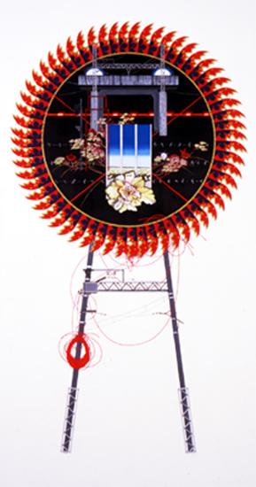 齋藤芽生, 花輪其の六「名前のない町」より, 「跨線橋」 1999, アクリル・グアッシュ、木製パネル、綿布、膠、顔料、炭酸カルシウム, 190 x 100 cm