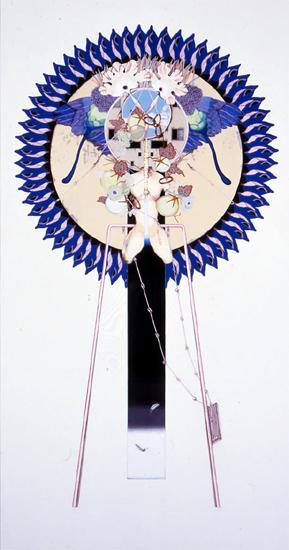 齋藤芽生, 花輪其の六「名前のない町」より, 「高層住宅」 1999, アクリル・グアッシュ、木製パネル、綿布、膠、顔料、炭酸カルシウム, 190 x 100 cm