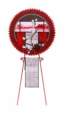 齋藤芽生, 花輪其の五「君待つ宿」より, 「彼誰茶屋」 1999, アクリル・グアッシュ、紙, 54 x 30 cm
