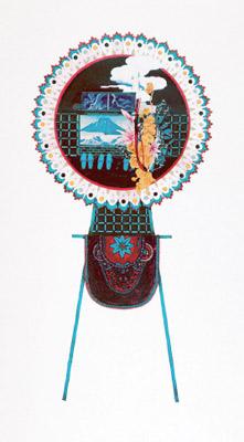 齋藤芽生, 花輪其の五「君待つ宿」より, 「荒波ホテル」 1999, アクリル・グアッシュ、紙, 54 x 30 cm
