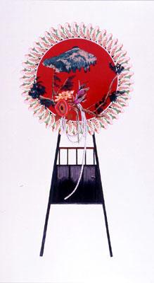 齋藤芽生, 花輪其の五「君待つ宿」より, 「朝霧渓谷」 1999, アクリル・グアッシュ、紙, 54 x 30 cm