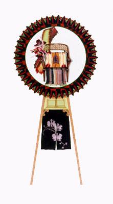 齋藤芽生, 花輪其の五「君待つ宿」より, 「白蘭女将」 1999, アクリル・グアッシュ、紙, 54 x 30 cm