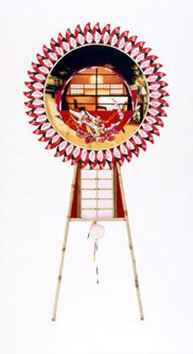 齋藤芽生, 花輪其の五「君待つ宿」より, 「流花独酌」 1999, アクリル・グアッシュ、紙, 54 x 30 cm