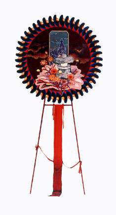 齋藤芽生, 花輪其の五「君待つ宿」より, 「甚五郎宿」 1999, アクリル・グアッシュ、紙, 54 x 30 cm