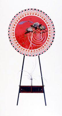 齋藤芽生, 花輪其の五「君待つ宿」より, 「夕凪水殿」 1999, アクリル・グアッシュ、紙, 54 x 30 cm