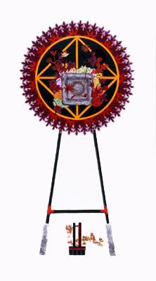齋藤芽生, 花輪其の五「君待つ宿」より, 「紅葉山荘」 1999, アクリル・グアッシュ、紙, 54 x 30 cm