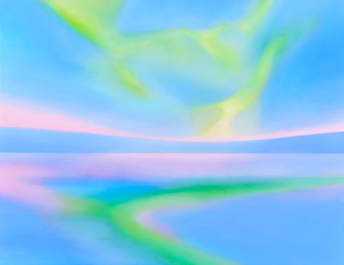 富岡直子  黎明の響き  2014  アクリル、麻キャンバス、パネル  108×140 cm  (C) Naoko Tomioka