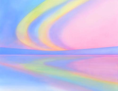 富岡直子  夜明け‐daybreak  2014  アクリル、麻キャンバス、パネル  108×140 cm  (C) Naoko Tomioka