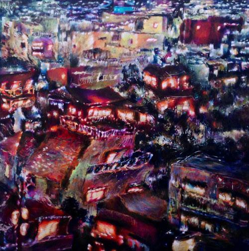 Tamana MOTEKI - 星座ー7階からの風景ー, 2014, 227.3×227.3㎝(S150号), 油彩、カンヴァス