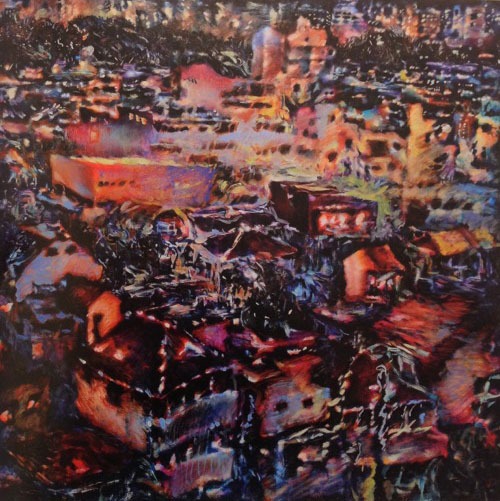 Tamana MOTEKI - 星座ー窓からの風景ー, 2014, 162.0×162.0㎝(S100号), 油彩、カンヴァス