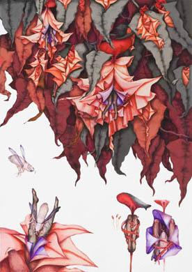 齋藤芽生, 徒花図鑑「其奥草」, 2008, アクリル・紙, 44 x 33 cm