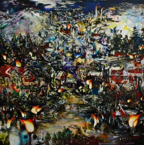 Tamana MOTEKI - 目の前と陽炎, 2011, 100.0×100.0㎝(S40号), 油彩、カンヴァス