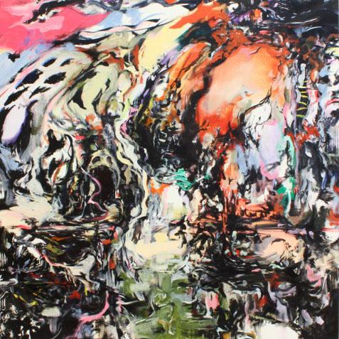 Tamana MOTEKI - 目の前と蜻蛉, 2011, 100.0×100.0㎝(S40号), 油彩、カンヴァス