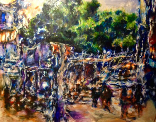 Tamana MOTEKI - 名前のない街ーカワセミを見た午後ー, 2015, 130.0×162.0cm(F100号), 油彩、カンヴァス
