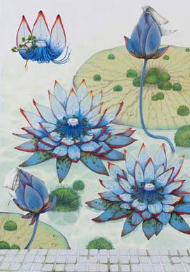 齋藤芽生, 徒花図鑑「湯女蓮」, 2008, アクリル・紙, 44 x 33 cm