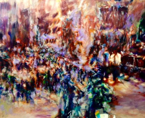 Tamana MOTEKI - 名前のない街ー鳥瞰の橋ー, 2015, 130.0×162.0cm(F100号), 油彩、カンヴァス