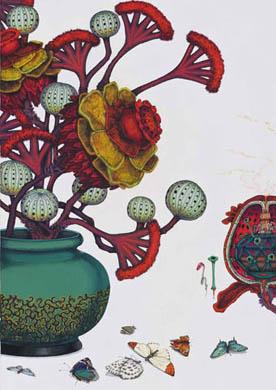齋藤芽生, 徒花図鑑「芬々塊」, 2008, アクリル・紙, 44 x 33 cm