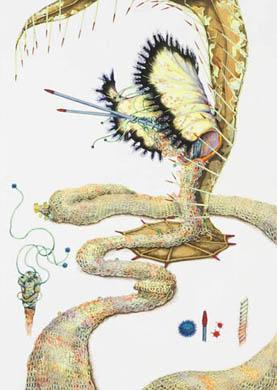 齋藤芽生, 徒花図鑑「不捧草」, 2008, アクリル・紙, 44 x 33 cm