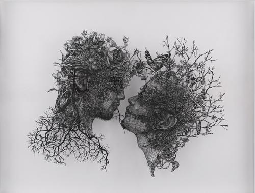 盛田 亜耶 ユダの接吻 2018 54.5×78.0cm (額なしサイズ) 切り絵