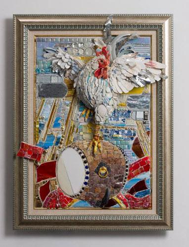 西ノ宮佳代 - 太平 ー諫鼓鶏(かんこどり) 2014年 55.6×75.6×14.2cm モザイク