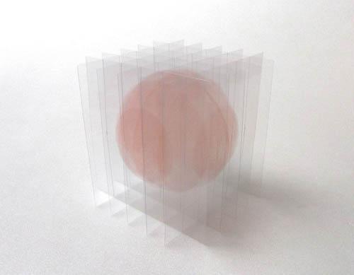 瀬川剛 - デッサン・ヴォリューム:浮遊する球体I(ピンク), 2014年, ed.1, (ユニークピース), 14.0×14.0×14.0cm, アクリル絵の具、インク、ニス、塩化ビニール板