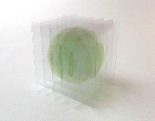 瀬川剛 - デッサン・ヴォリューム:浮遊する球体III(緑), 2014年, ed.1, (ユニークピース) 14.0×14.0×14.0cm, アクリル絵の具、インク、ニス、塩化ビニール板