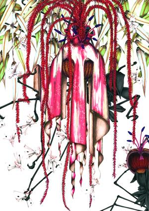 齋藤芽生, 徒花図鑑「花形冠と黒衣蜘蛛」, 2008, アクリル・紙, 44 x 33 cm