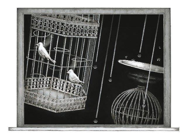 Meo Saito - 籠禽星(ろうきんせい), 2014, 17.2×23.8cm シート32x32cm, シルクスクリーン、紙  13版13色