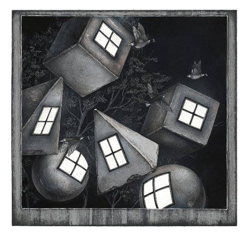 Meo Saito - 棲鴉群星 (せいあぐんせい) , 2014, 18.7×19.4cm シート32x32cm, シルクスクリーン、紙 16版16色