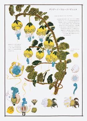 齋藤芽生, 毒花図鑑「ザンゲーノ・ワルーゴ・ザンシタ」, アクリル・紙, 57.5x40.2cm