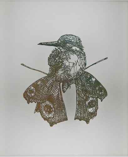 盛田亜耶 キメラ2(カワセミ) 2017 29.8×25.8cm(額寸) 切り絵