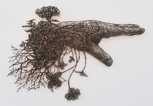 盛田亜耶 最後の晩餐-聖ぺトロの手 2017 25.5×36.7cm 切り絵、アクリル絵具