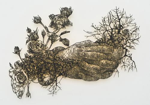 盛田亜耶 最後の晩餐-聖ヨハネの手 2017 25.9×36.2cm 切り絵、アクリル絵具
