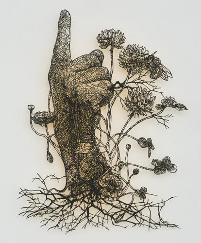 盛田亜耶 最後の晩餐-聖大ヤコブの手 2017 22.8×37.0cm 切り絵、アクリル絵具