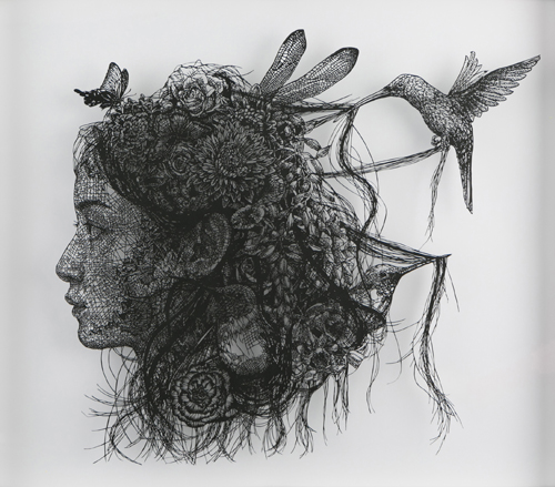 盛田亜耶 Head of K Ⅱ 2017 44.8×57.0cm (額サイズ15号) 切り絵