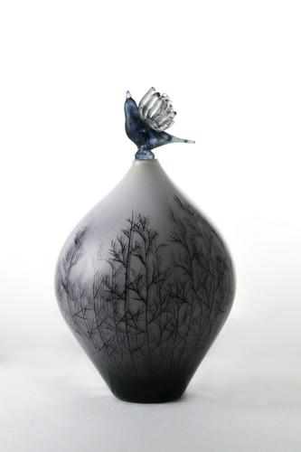 イイノナホ 夕暮れの鳥 ガラス W22.0×H38.0cm 2018