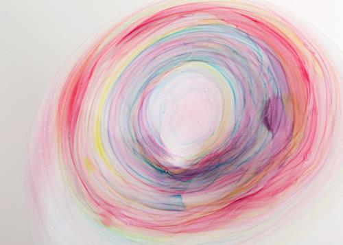 イイノナホ 時の素描8 花器(虹色ラウンド型)部分 2020 手吹きガラス Φ32.5×9.5cm