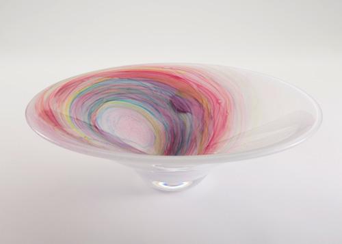 イイノナホ 時の素描8 花器(虹色ラウンド型) 2020 手吹きガラス Φ32.5×9.5cm