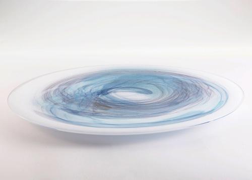 イイノナホ 時の素描11 大皿(青) 2020 手吹きガラス Φ37×H2.3cm