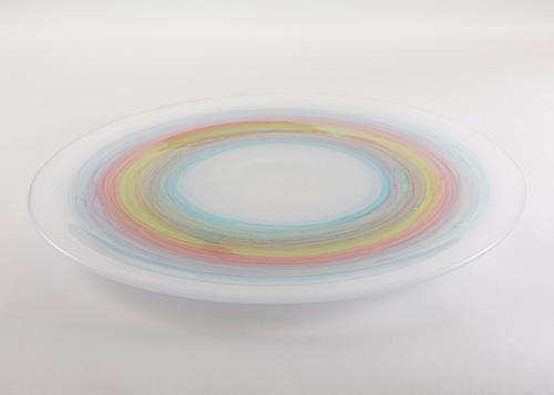 イイノナホ 時の素描10 大皿(虹 グリーン系) 2020 手吹きガラスΦ36.0×H2.5cm