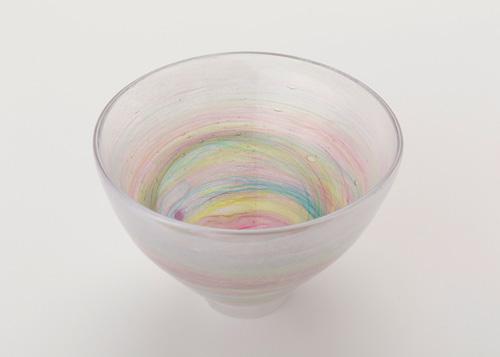 イイノナホ 時の素描2(抹茶碗-虹色) 2020 手吹きガラス Φ15.0×H10cm