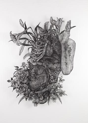 盛田 亜耶 解剖学的アプローチによる受胎告知 2019 90.0×72.0cm(額寸) 切り絵