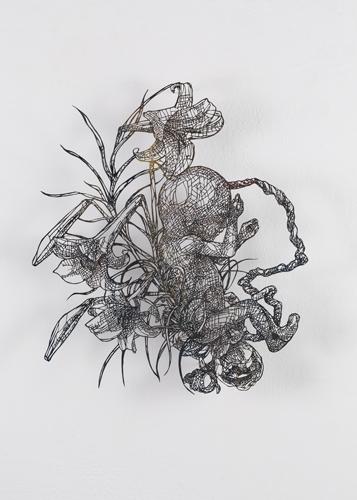 盛田 亜耶 聖なる胎児ー5ヶ月 2019 45.0×43.0cm(額寸) 切り絵、マーブリング